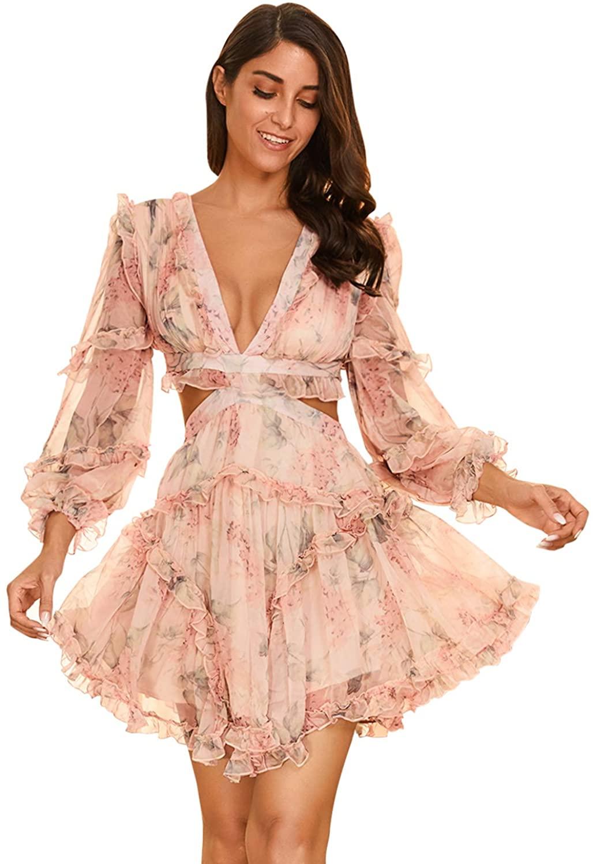 Women's Floral Open Back Ruffled Summer Beach Dresses Club Wedding Homecoming Party Dress
