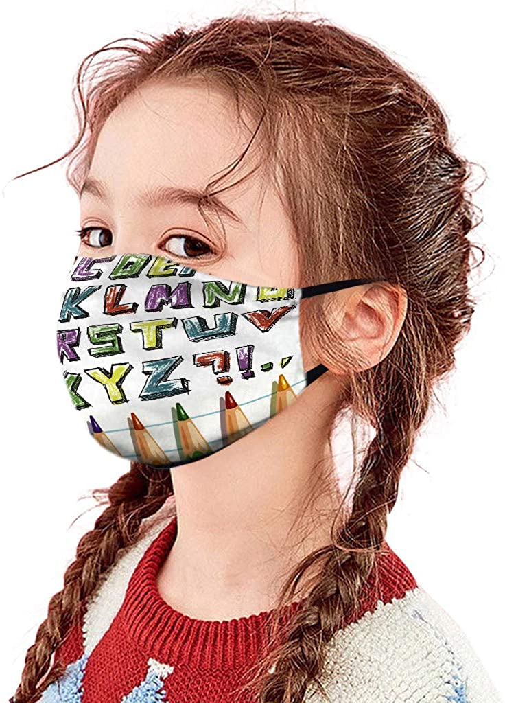 Face_Mask for Children,Washable Reusable Full Pattern Print Face Coverings for Dust Haze Protection