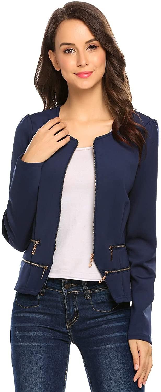 Zeagoo Women's Casual Zipper Cardigan Blazer O Neck Slim Fitted Office Jacket (XL, Navy blue)