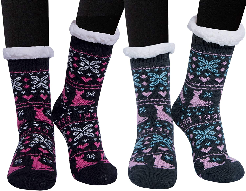 Loritta 2 Pairs Womens Winter Socks Thick Warm Fuzzy Cozy Christmas Fleece Slipper Socks Gifts