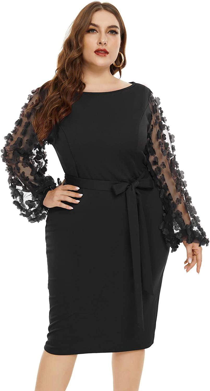 Hanna Nikole Women's Plus Size Elegant Flower Mesh Puff Sleeve Stretchy Bodycon Pencil Dress