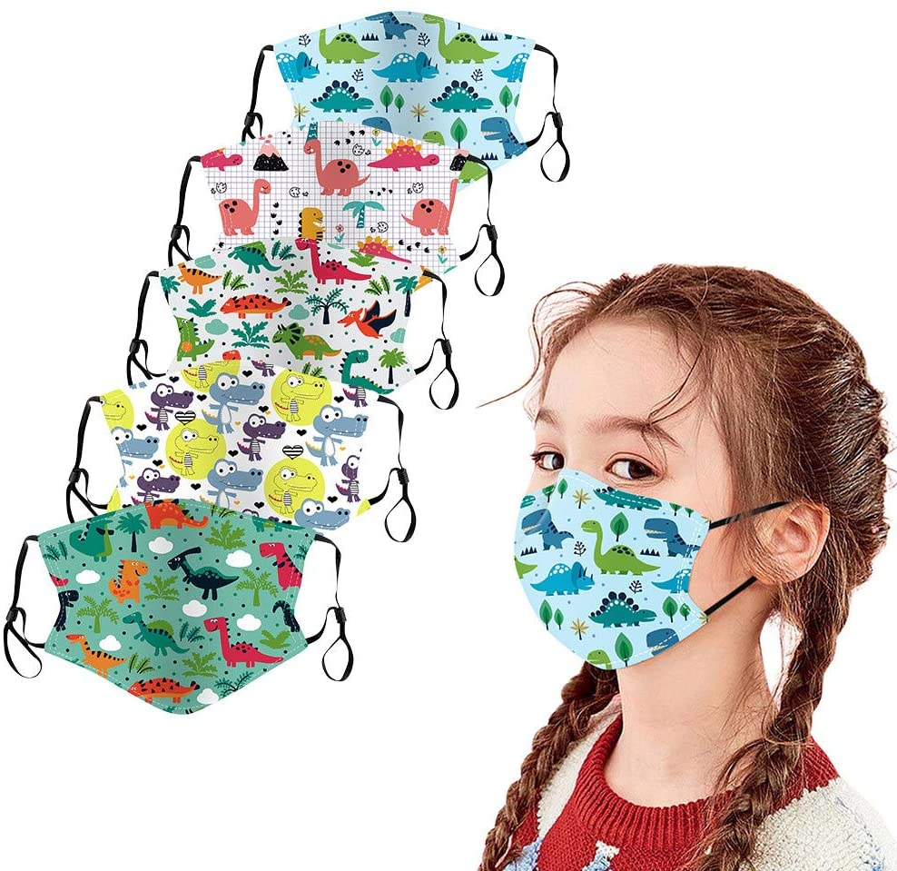Jamiacy 5Pcs Kids Reusable Face_Mask Cartoon Animals Printed Face màsc Bandanas Washable Face Cotton Guard for Childrens