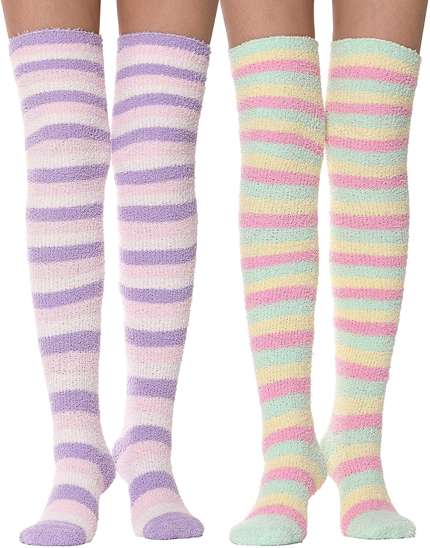 Girls Womens Over Knee High Fuzzy Socks Stockings Fluffy Soft Warm Cute Cozy Winter Long Christmas Socks 2 Pack