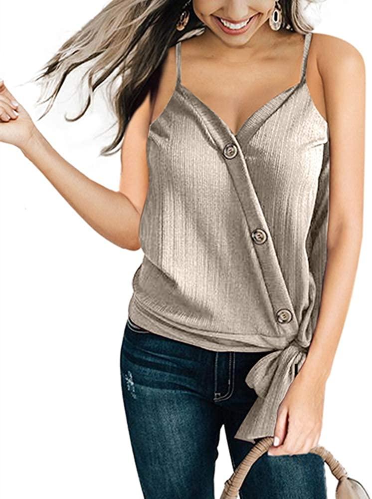 Ouregrace Women's Summer Sleeveless Shirt Blouse Front Tie Knot Cami Tank Tops