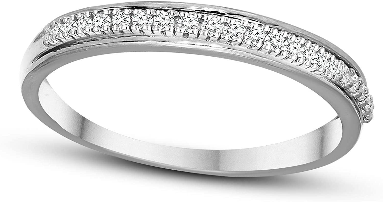 Tanache IGI Certified 1/20 Carat Diamond Ring For Women Natural Diamond Engagement Band Ring 10K White Gold Diamond Rings