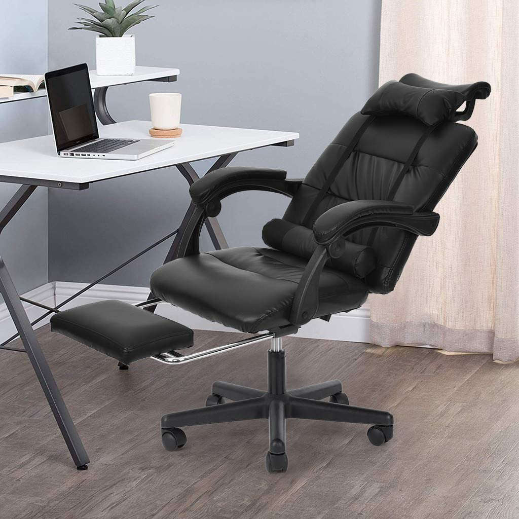 Gaming Racing Office Chair with Footrest, Ergonomic Office Recliner Desk Chair Racing Style Adjustable Backrest Reclining Leather Office Chair