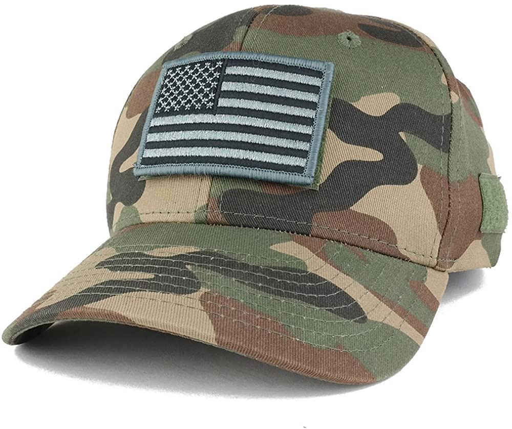 Armycrew American Flag Black 2 Tactical Embroidered Patch Adjustable Structured Operator Cap
