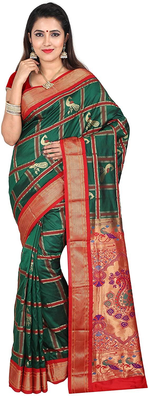 Indian Silks Women's Peacock Design Checkered Paithani Pure Silk Saree