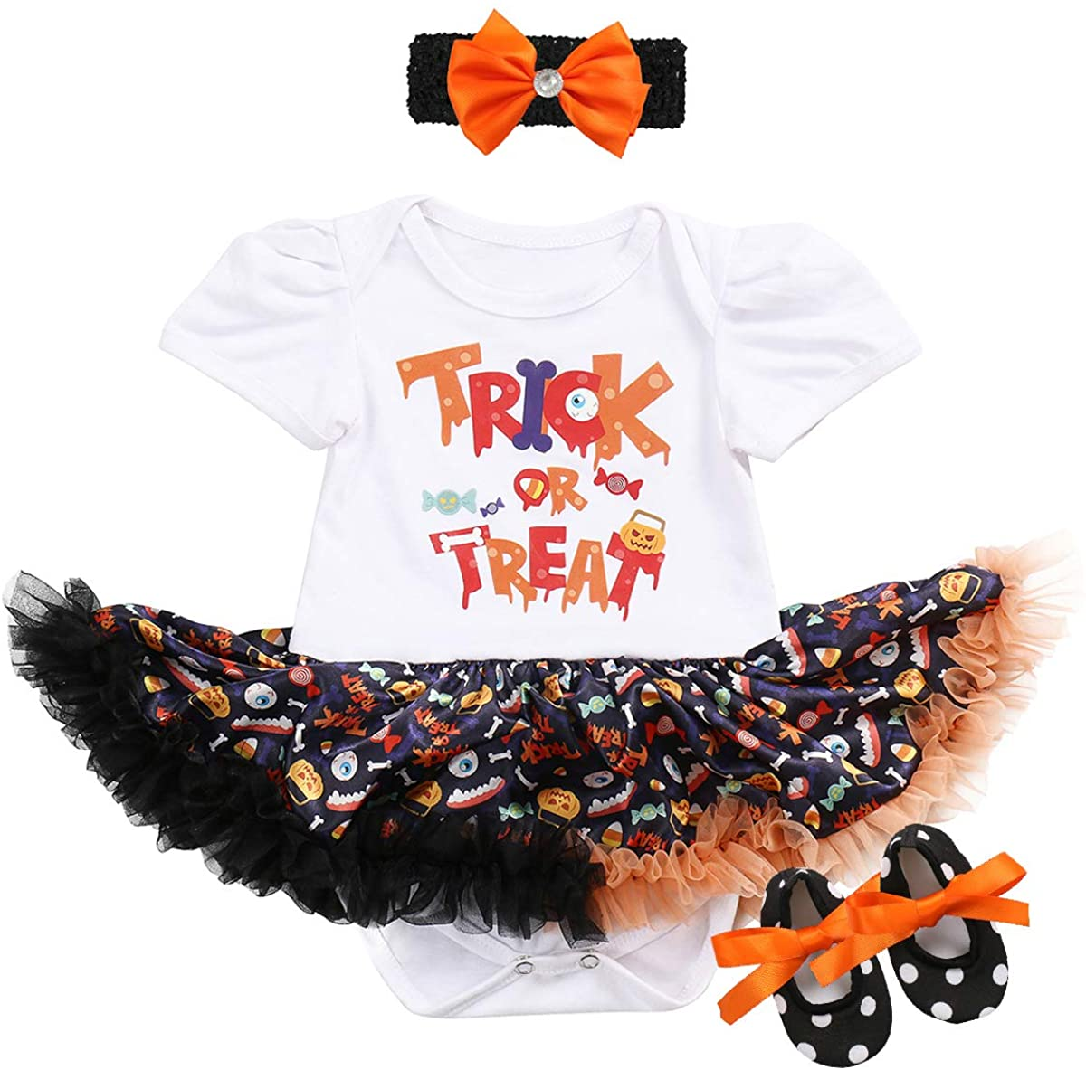 Infant Baby Girl Halloween Outfit Fancy Pumpkin Romper Tutu Dress 1st Birthday Party Christmas Costume 3Pcs Clothe Set