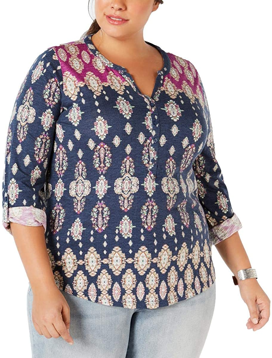 Style & Co. Womens Plus Printed 3/4 Sleeves Knit Top