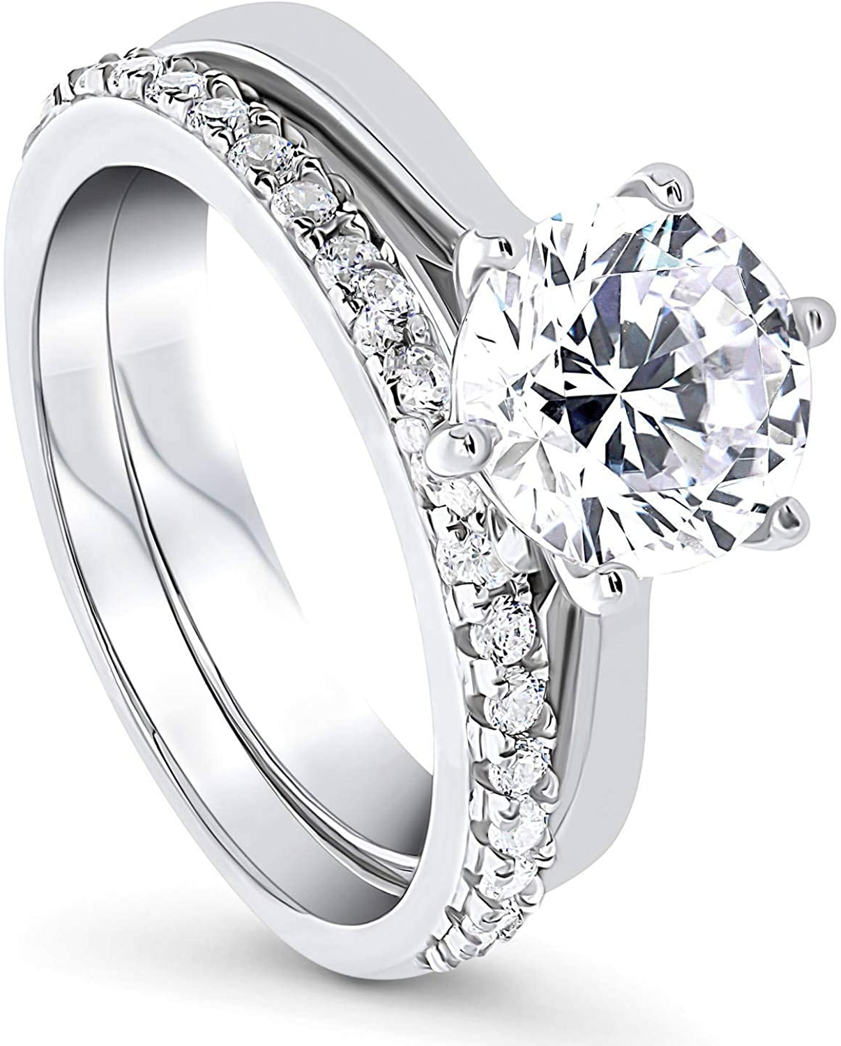 BERRICLE Rhodium Plated Sterling Silver Round Cubic Zirconia CZ Solitaire Engagement Wedding Ring Set 2.36 CTW