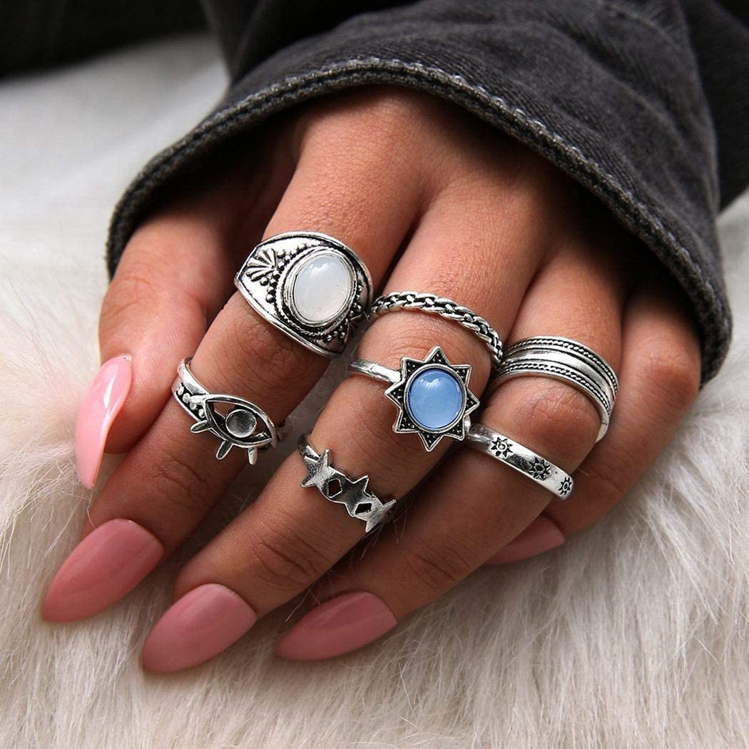 Eollan Boho Silver Ring Set Gem Stone Knuckle Ring jewelry Eye Sun Shell Joint Rings for Women and Girls(7PCS)