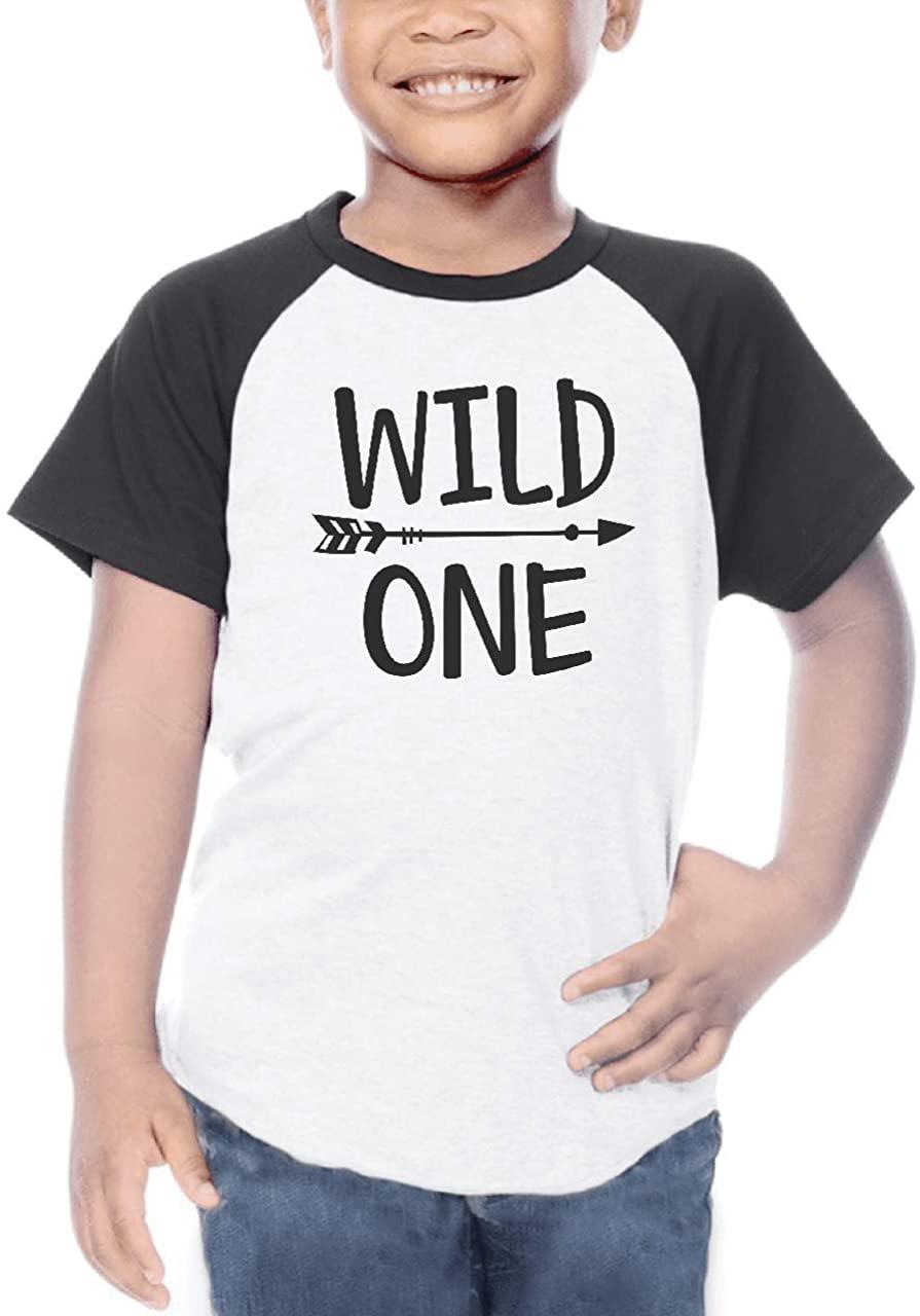 Bump and Beyond Designs Boy First Birthday Shirt Wild One Short Sleeve Raglan