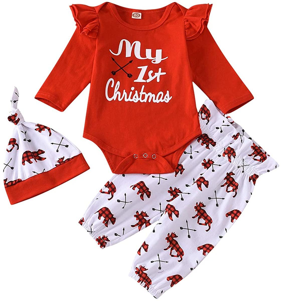 My First Christmas Outfit Newborn Baby Boy Girl Long Sleeve Romper Top+Bear Plaid Pants+Hat/Headband 3PCS Clothes Set