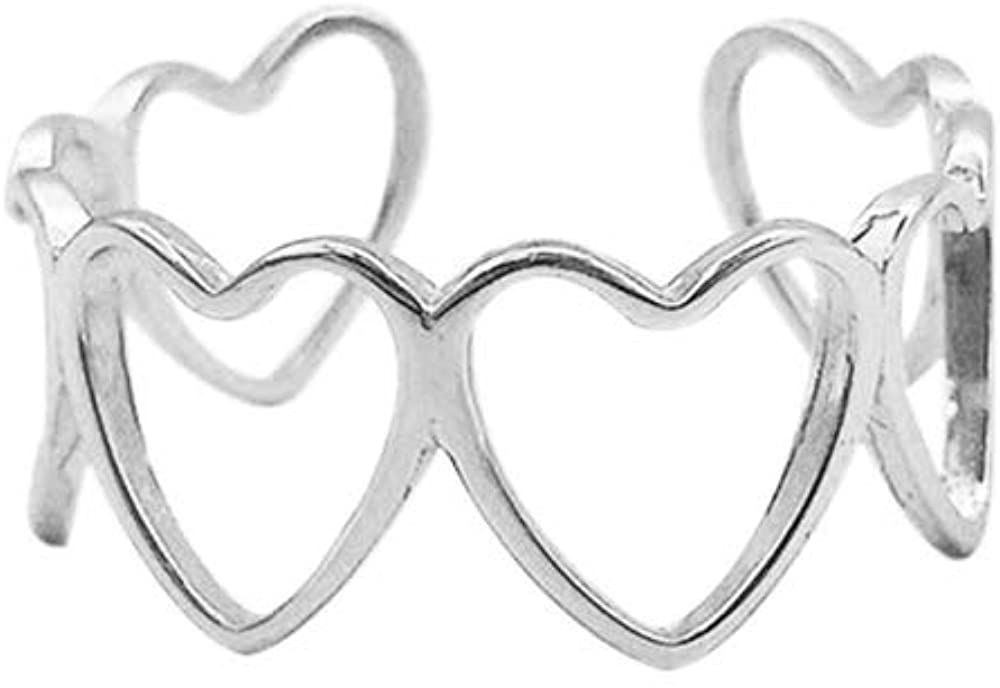 Hollow Heart Love S925 Sterling Silver Promise Statement Wedding Open Rings Adjustable Dainty Finger Band Engagement Minimalist Simple Ring for Women Girls Her Girlfriend Jewelry Gifts Bff Birthday