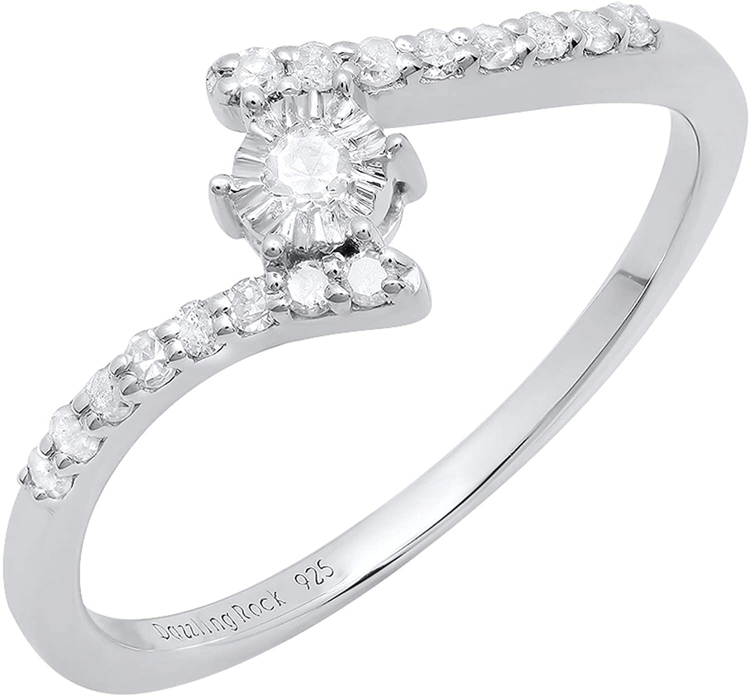 Dazzlingrock Collection 0.20 Carat (ctw) Round Diamond Ladies Bypass Style Engagement Ring 1/5 CT, Sterling Silver