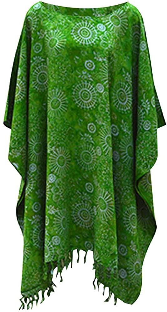 Cool Kaftans Embun Snowflake Ladies Kaftan Top T-Shirt Poncho Hand Made Vibrant Large Womens