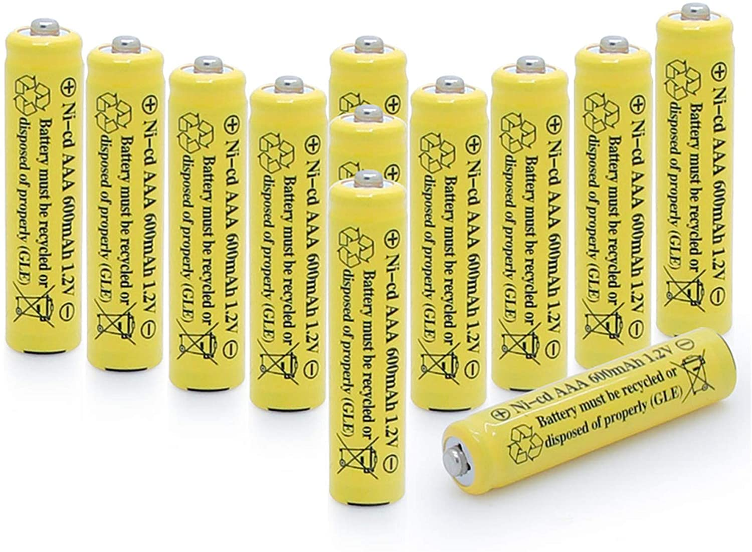 QBLPOWER 1.2v AAA NiCd 600mAh Triple A Rechargeable Battery Cell for Solar Lights Garden Lamp (12 Pack AAA)