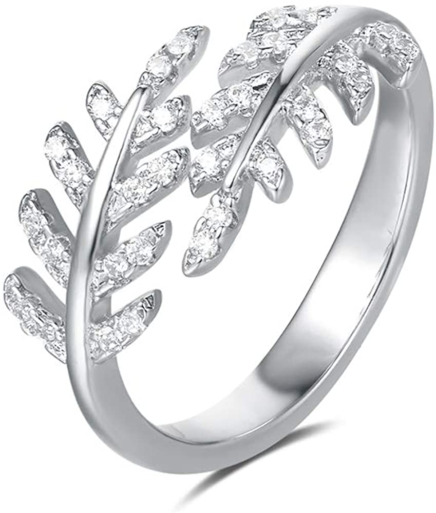 FANCIME 14K White Gold PlatedEternity Open Adjustable Wrap Ring Simulated Diamond Cubic Zirconia CZ Infinity Knot/Open Starburst/Snowflake/Leave Leaf Laurel /Teardrop Triple Circle Ring Statement Jewelry Gift for Womens Girls,Size 5 6 7 8