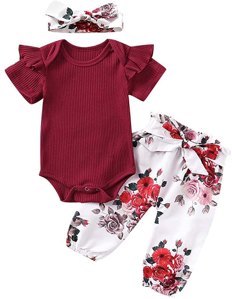 Toddler Baby Girl Short Sleeve Ruffle Romper Solid Tops+Flower Pants+Headband 3Pcs Outfits Clothes Set