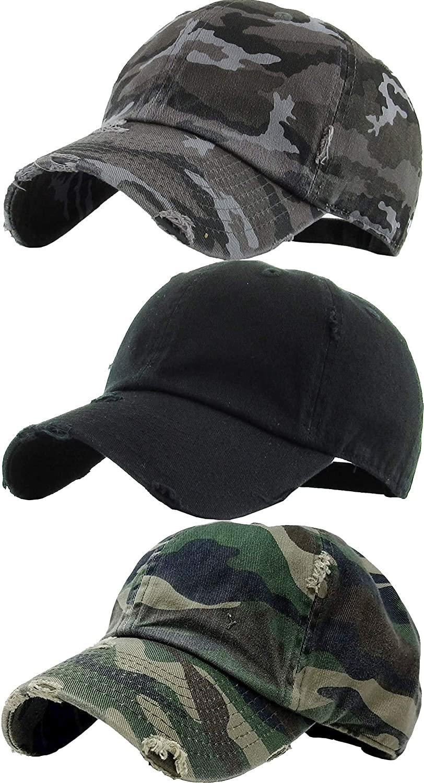 H-218-3-D0684068433 Solid Cap 3 Pack - Black, Black Camo, Camo (Distressed)