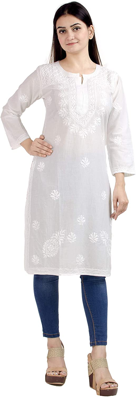 Chandrakala Women's White Lucknowi Chikan Embroidery 100% Cotton Indian Ethnic Tunic Top Kurti Kurta(K156)