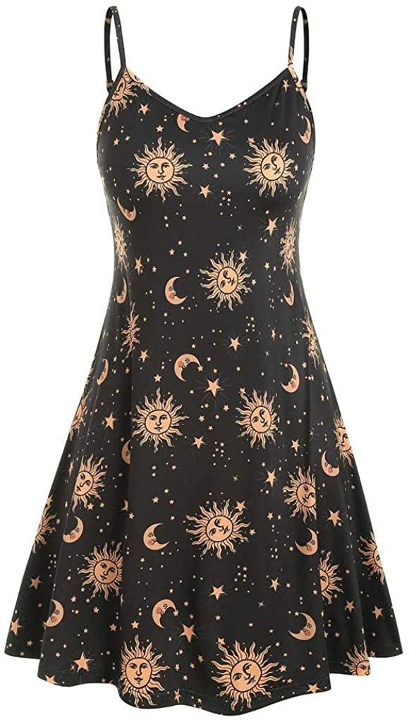 Women's Plus Size Dresses Casual Mini Dress Sleeveless Sun Moon Star Print Swing Beach Sling Dress