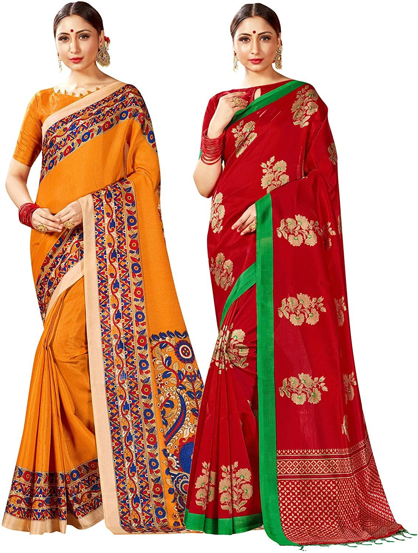 Pack of Two Sarees for Women Mysore Art Silk Printed Indian Diwali Sari || Wedding Gift Saree Combo