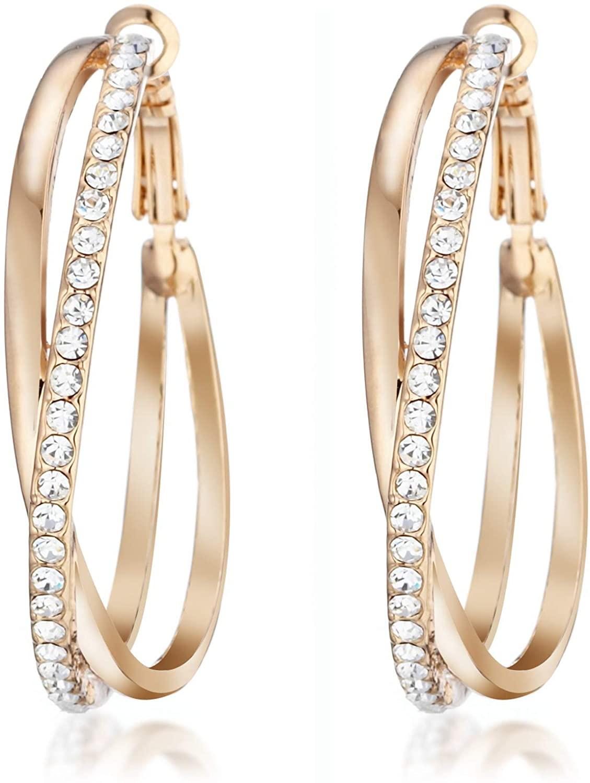 Gemini Women's Jewelry 18K Gold Plated CZ Diamond Hoop Pierced Earring for Women Valentine's Day Gifts Gm032