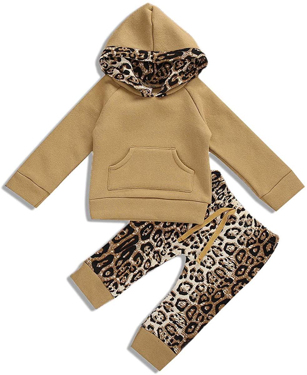 Newborn Baby Boys Girls Leopard Outfits Long Sleeve Hoodie Sweatshirt Pocket Tops Leggings Pants Fall Winter Clothes