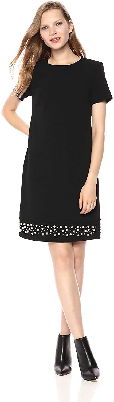 Calvin Klein Women's Solid Short Sleeve Sheath with Pearl Trim