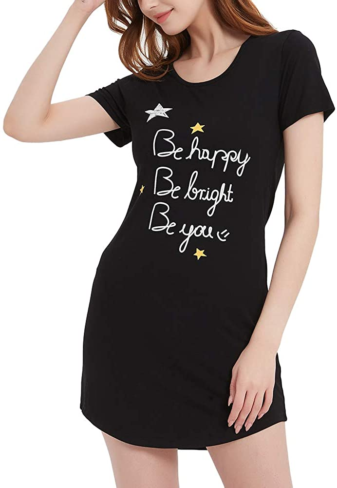 HEARTNICE Nightgown for Women, Short Sleeve V-Neck Sleep Shirts Women Soft Bamboo Nightdress