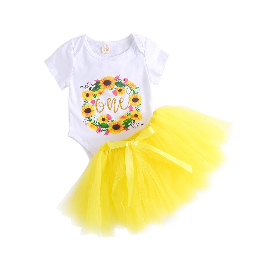 Newborn Infant Baby Girl Floral Romper Tops Tutu Skirt Birthday Outfits Set (0-6 M, Yellow)