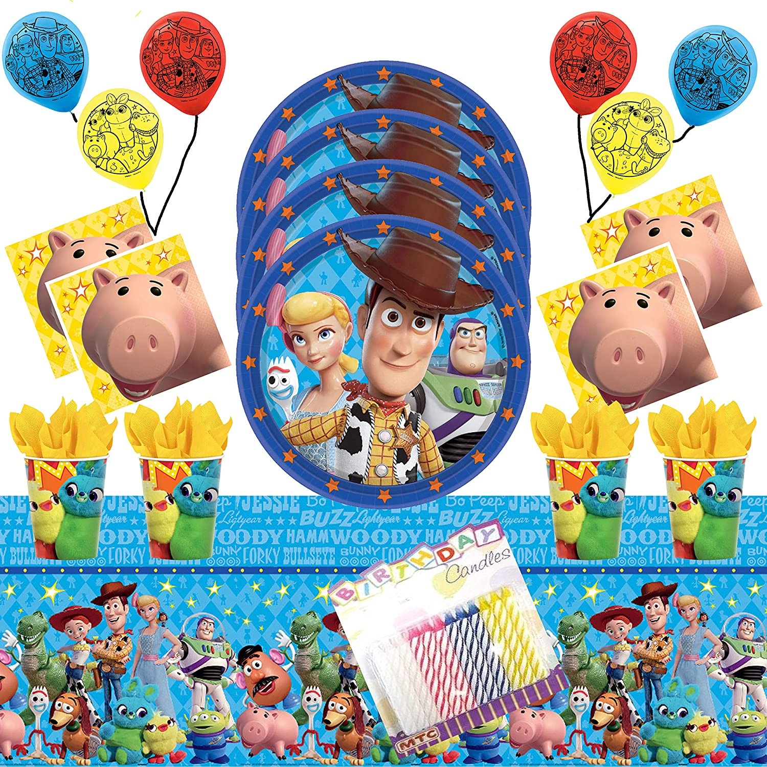 Toy Story 4 Party Supplies Pack Serves 16: Plates Napkins Cups Table Cover and Balloons with Birthday Candles (Bundle for 16)