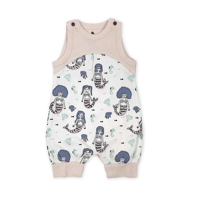 Finn + Emma Organic Cotton One-Piece Baby Romper – Mermaids, 0-3 Months