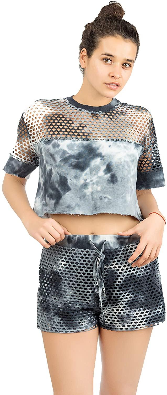 Merecho Women's Cotton Mesh Tiedye Shorts, Crop Top + Pants Set