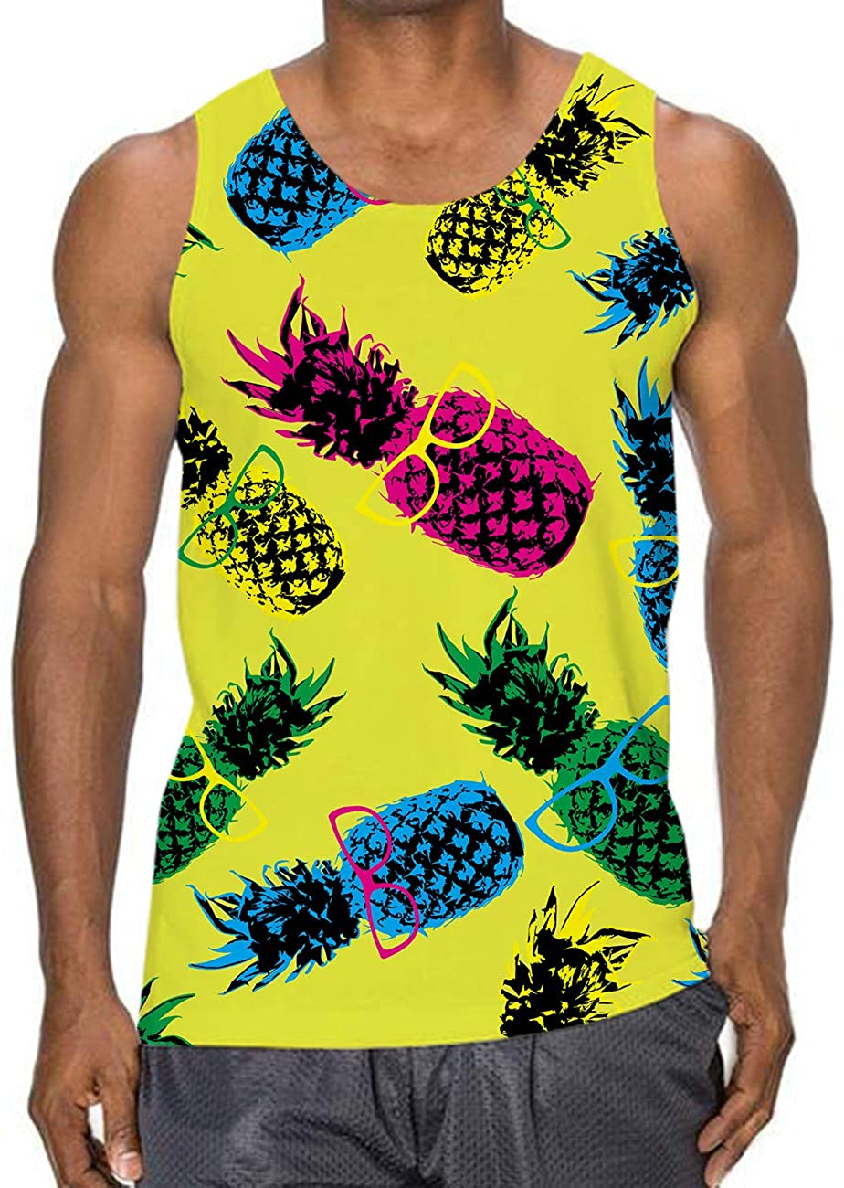 Idgreatim Mens Glasses Pineapple Graphic Tank Tops 3D Printed Sleeveless Crewneck Quick Dry Workout Gym Tees Outfit S