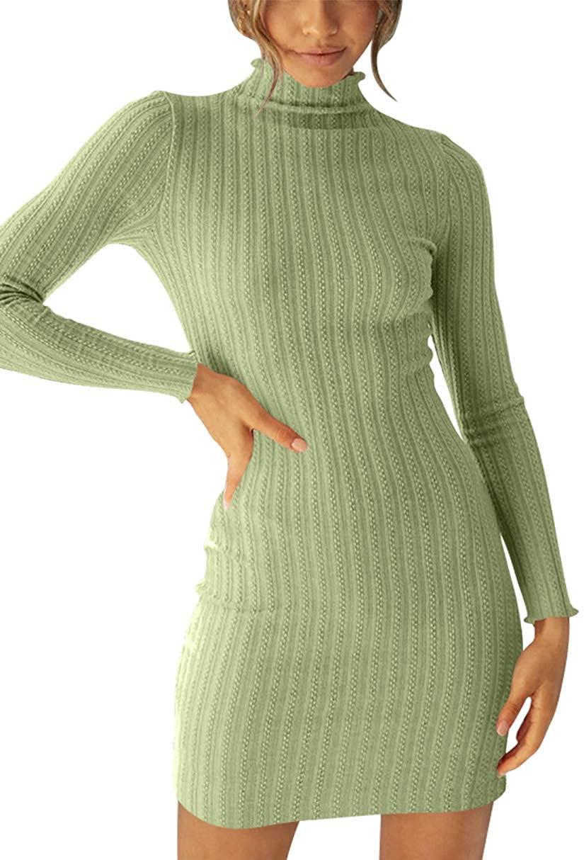 Margrine Womens Turtleneck Long Sleeve Knit Stretchable Elasticity Slim Sweater Mini Dress