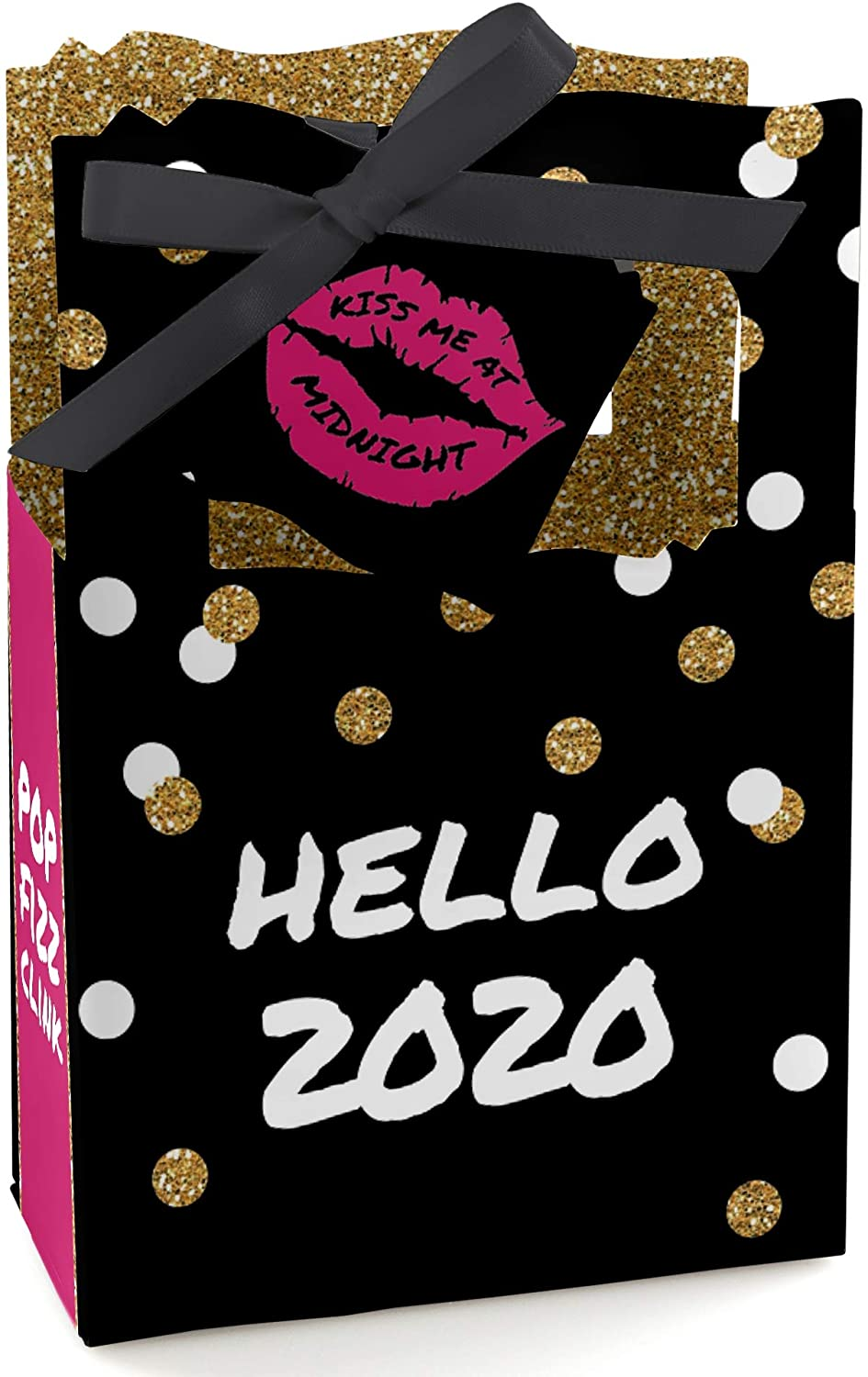 Big Dot of Happiness Pop, Fizz, Clink - 2020 New Year's Eve Party Favor Boxes - Set of 12