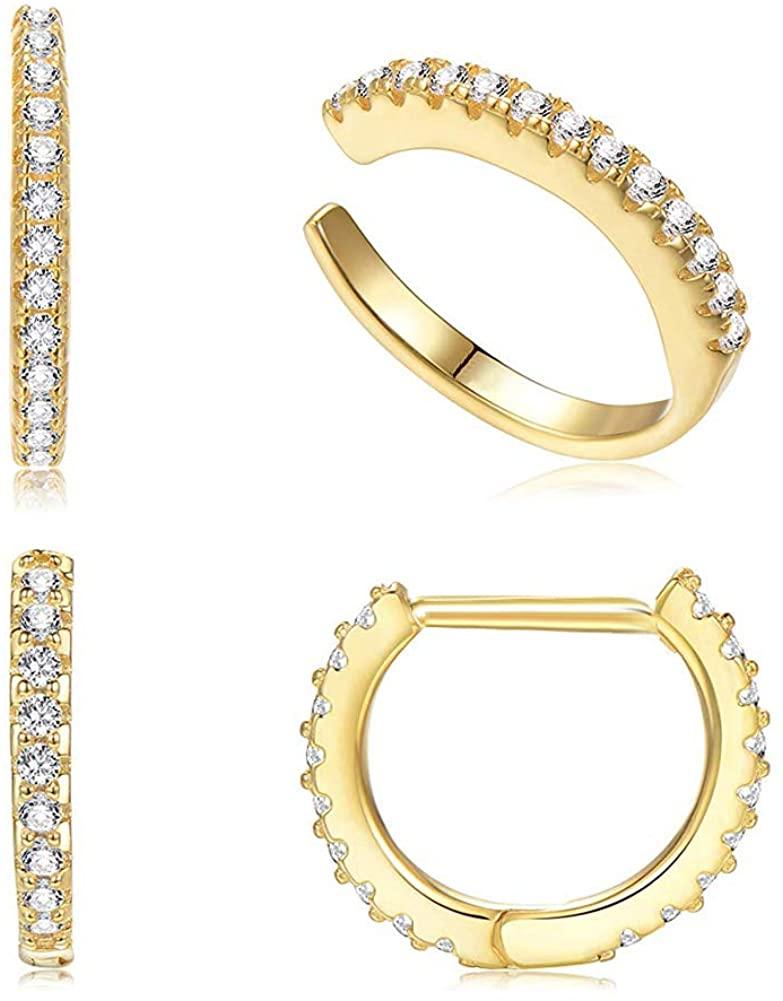 Vercret Gold Earrings Cuff for Women - CZ Earrings for Girls, Ear Cuff Gifts for Friend,Sister, Daily Wearing…