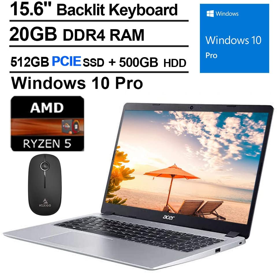 2020 Acer Aspire 5 15.6 Inch FHD 1080P Laptop, AMD Ryzen 5 3500U up to 3.7 GHz, 20GB RAM, 512GB PCIE SSD (Boot) + 500GB HDD, Backlit KB, Bluetooth, Webcam, Win10 Pro + NexiGo Wireless Mouse Bundle