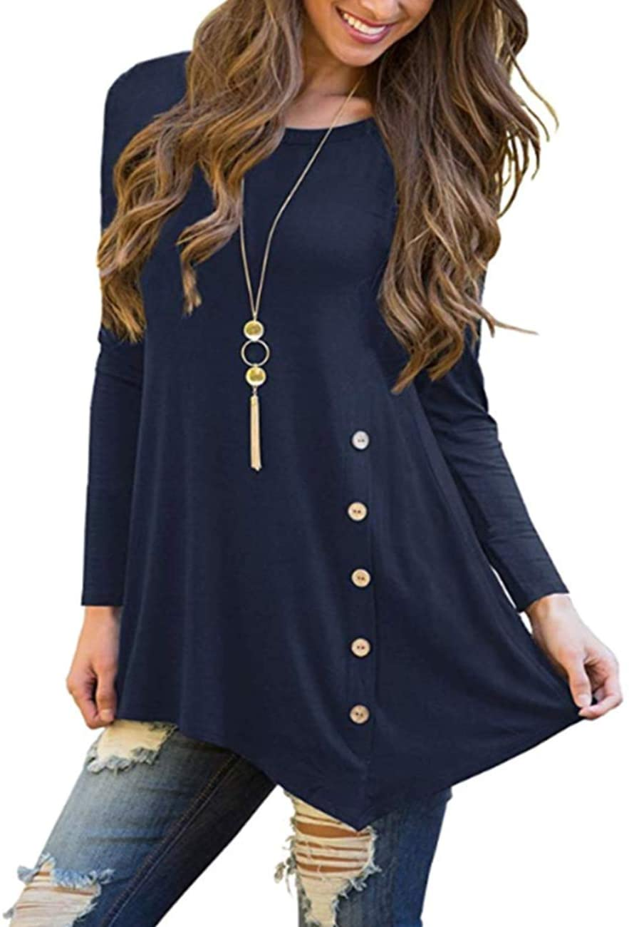 Women's Long Sleeve Casual Round Neck Tees Button Side Shirt Blouse Tunic Top (Samll, Navy Blue)