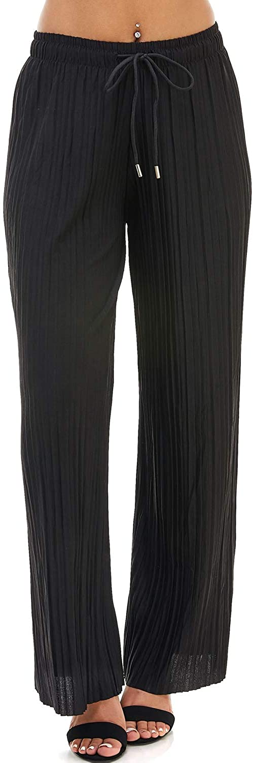 doublefive Womens Drawstring Pleated Wide Leg Palazzo Pants (Black, Plus One Size)