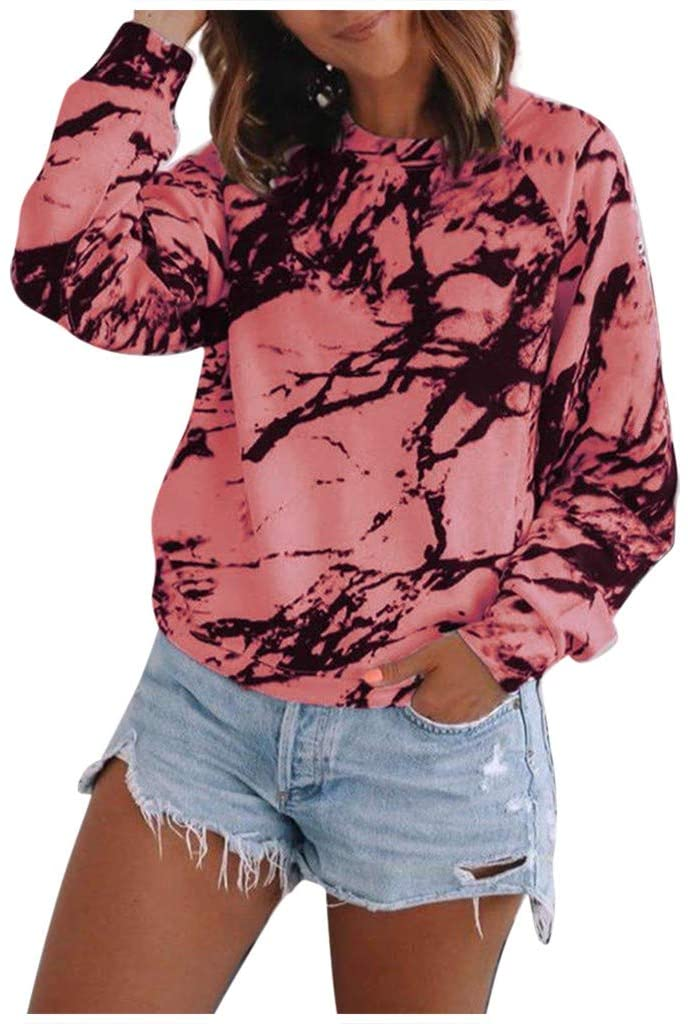 Fineday Blouses for Women, Fashion Womens Casual Loose O-Neck Tie-Dye Printed Long Sleeve Tops T-Shirt, Plus Size Tops for Women