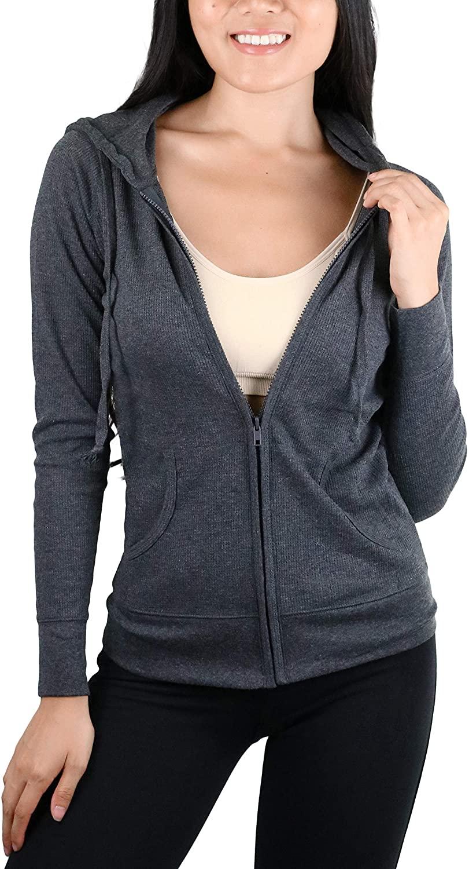 ToBeInStyle Womens Long Sleeve Full Zip-Up Thermal Hoodie