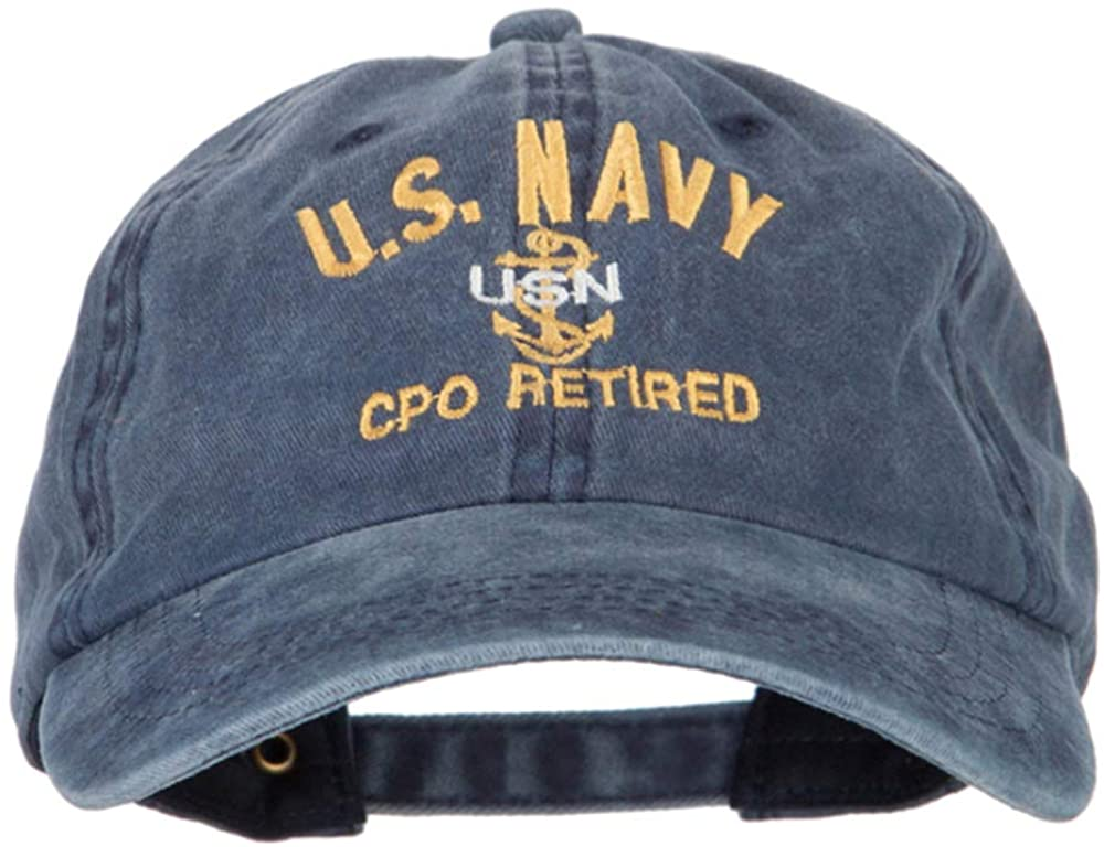 e4Hats.com US Navy CPO Retired Military Embroidered Washed Cotton Twill Cap