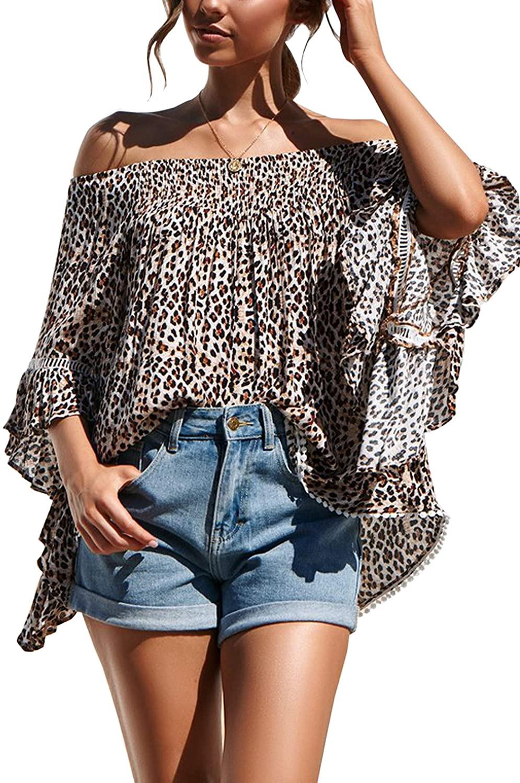 Hibluco Women's Off Shoulder Leopard Print Tops Flare Sleeve Loose Blouse Summer Tee Shirt