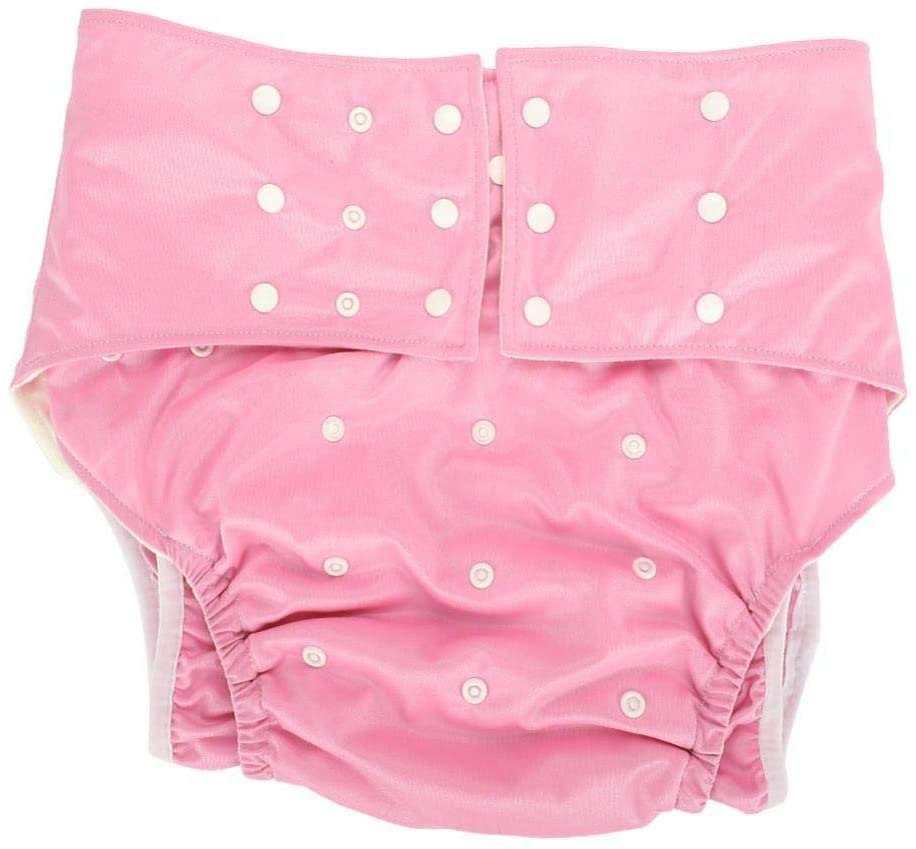 Adult Pocket Nappy, Reusable AdjustableWashable Comfortable Adult Pocket Nappy CoverDiaper Cloth for the Old, the Disabled, Pregnant Woman(Pink)