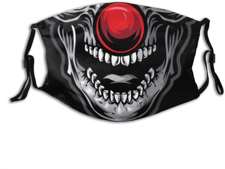 Halloween Clown Face Mouth Teeth Print Washable Face Mask Bandana Balaclava Reusable and Adjustable for Men Women