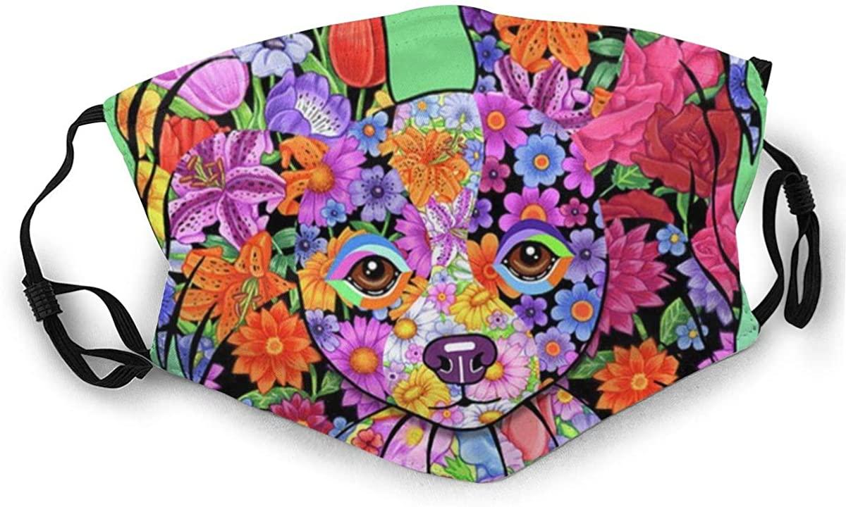 Flowers Papillon Papillon Mouth Muffle Face Mask Wristband Cute Dog Mask Animal Mask Breathable